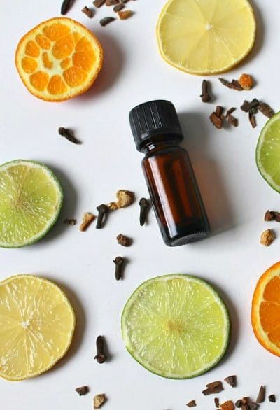 essential oil brown bottle, slice of lemon, herbs