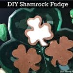 Three pieces of shamrock fudge on a green shamrock shaped platter.