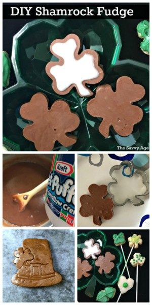 Collage of Shamrock Fudge recipe with shamrock fudge, leprechaun fudge and original Fantasy Fudge ingredients.