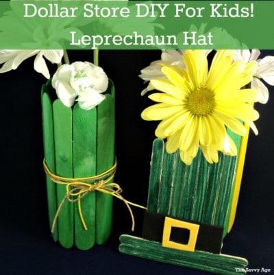 Quick St. Patrick's Day Kids craft! DIY Popsicle Stick Leprechaun.