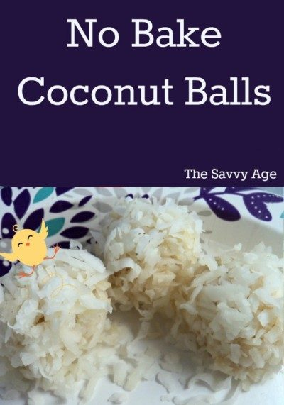 Three coconut balls with easter chick sitting on top.