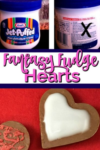 Marshmallow creme jar and fudge heart.