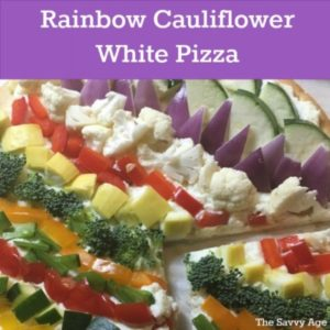 Close up of cauliflower white pizza.