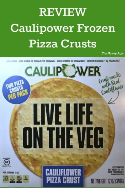 Caulipower frozen pizza crust box.