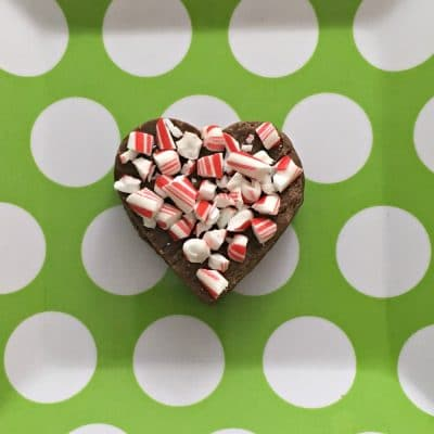 Fudge heart with crushed candy canes as topping.