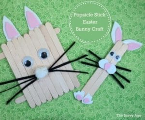 Cute Popsicle Stick Easter Bunny! Perfect popsicle stick craft for toddlers and younger kids.