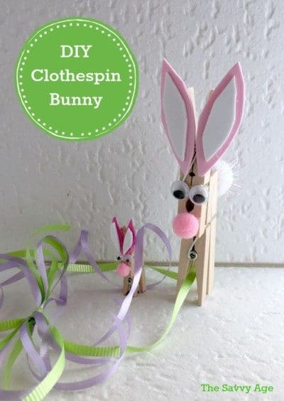Fun clothespin craft for Easter! Make a clothespin bunny for the Easter Holiday. Dollar store Easter craft!