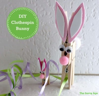 Dollar Store Easter Craft: Clothespin Bunny !