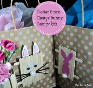 Easy Easter craft for kids! Make an Easter Bunny Bag with popsicle sticks bunnies.