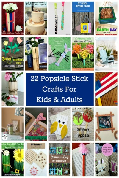 Colage of popsicle stick crafts.