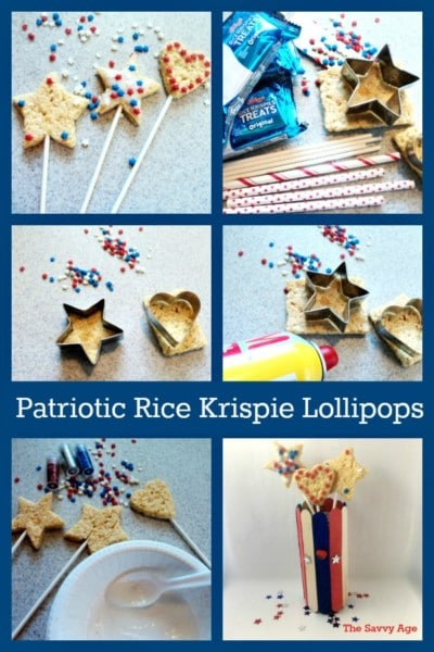 Collage of how to make Rice Krispie Lollipops.