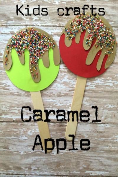 Popsicle Stick Caramel Apple.