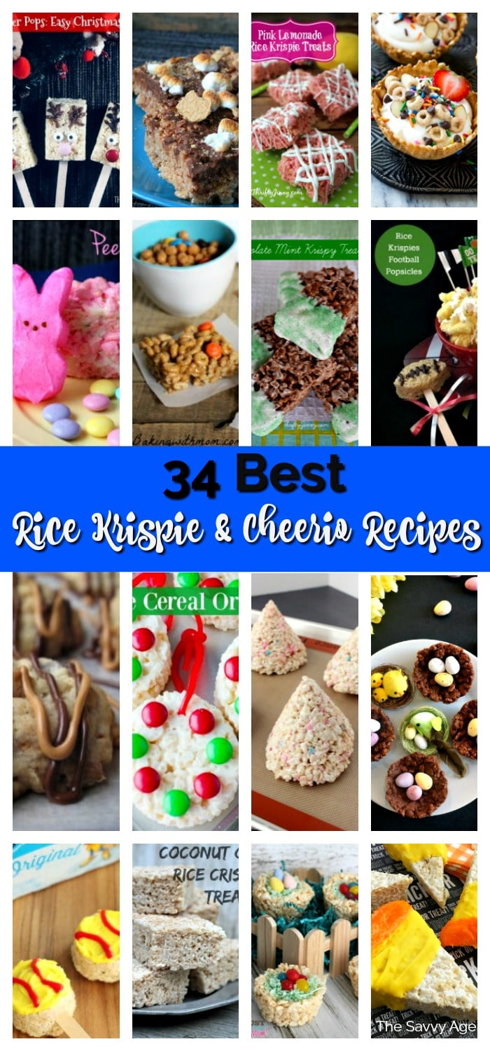 Collage of rice krispies recipes