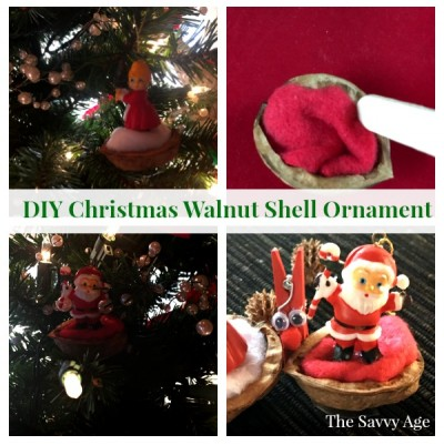 walnut shell christmas ornament with santa