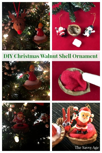 Collage of walnut shell christmas ornaments