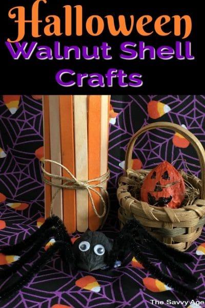 Orange walnut shell pumpkin and black walnut shell spider.