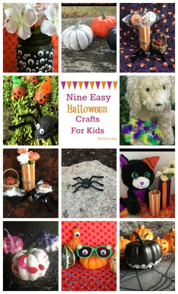 Collage of Halloween crafts for kids