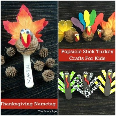 Collage of Popsicle Stick Turkey crafts for kids.