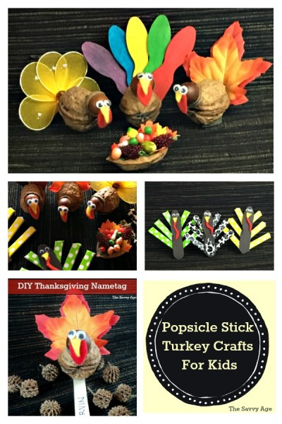 Collage of Popsicle stick turkeys.