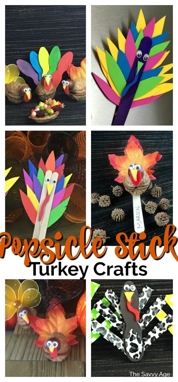 Collage of popsicle stick turkey crafts.