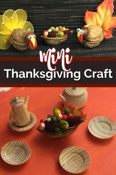 Mini cornucopia Thanksgiving craft.
