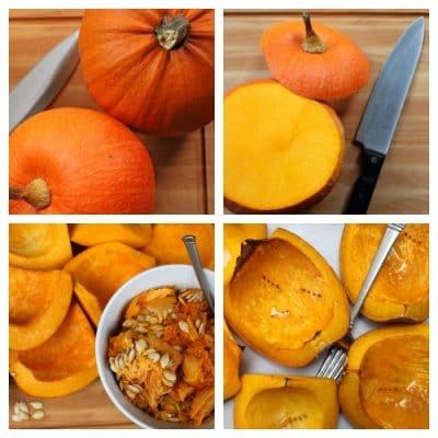 Graphic steps to make pumpkin puree