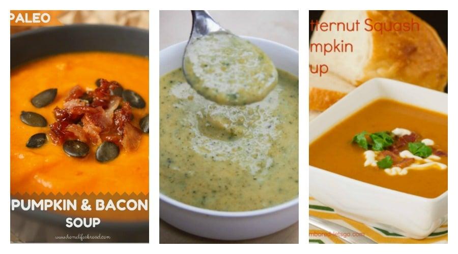 three bowls of pumpkin soup