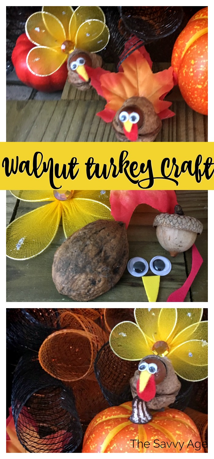 Collage of materials for walnut turkey: acorn, walnut, felt, googly eyes.
