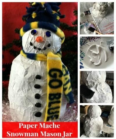 DIY Paper Mache Snowman Mason Jar Gift