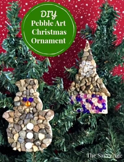Two pebble art Christmas ornaments.