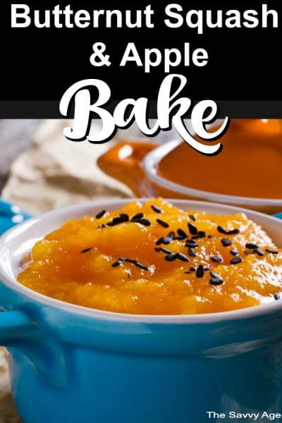 Butternut Squash Bake With Apples in a blue bowl.