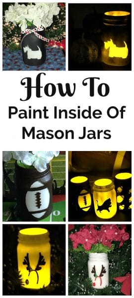 Collage of painted holiday mason jars