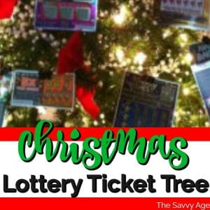 Christmas Tree decorated with lights and lottery tickets.