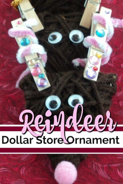 3 Reindeer ornaments made from brown yarn and clothespin antlers.