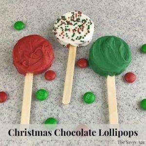 Three Christmas Chocolate Lollipops.