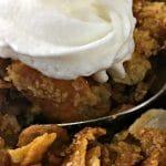 apple butternut squash cobbler and whipped cream