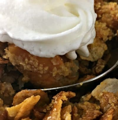 apple butternut squash cobbler and whipped cream