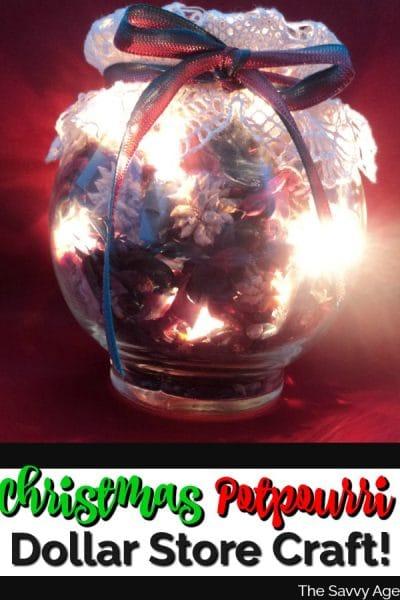 christmas potpourri in a jar illuminated.