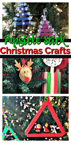 Collage of popsicle stick Vhristmas trees, ornaments and vases.