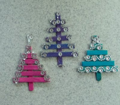 3 popsicle stick tree Christmas ornaments.