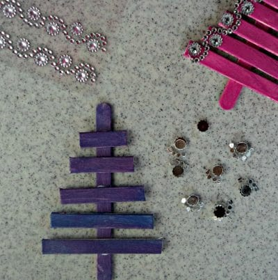 Popsicle stick tree, jewel stickers.