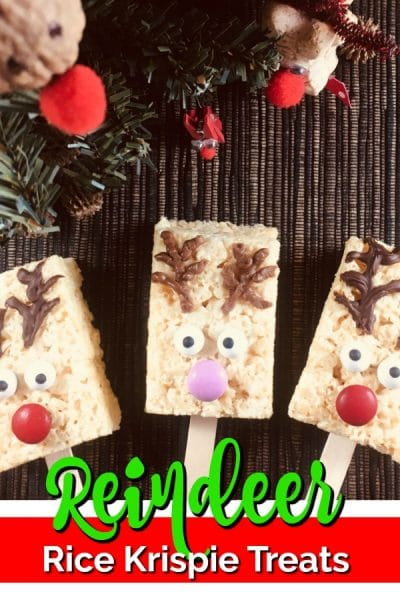 Three reindeer rice krispie treats decorated as reindeer.