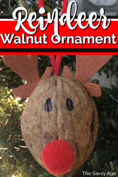 Reindeer ornament made of walnut shell.