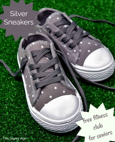 Two silver tennis sneakers.
