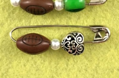 safety pin jewelry with football bead