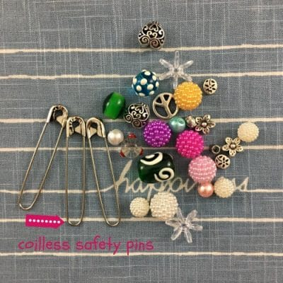 safety pin jewelry materials