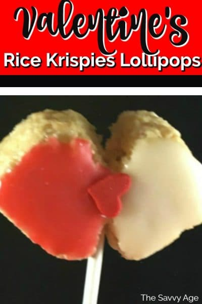 Rice krispies shaped into a heart for Valentine's day.