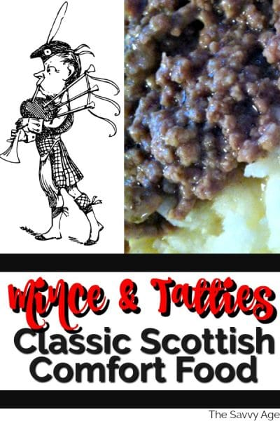 Image of mince and tatties dinner and bagpiper