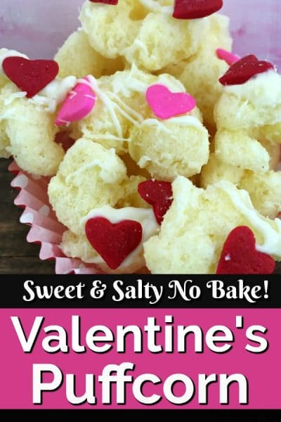 Puffcorn decorated with Valentine's Day hearts in a cupcake liner.