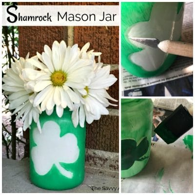 Collage with Shamrock decorated mason jar and steps to paint the mason jar.